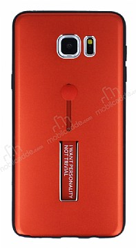 Eiroo Alloy Fit Samsung Galaxy Note 5 Selfie Yüzüklü Kırmızı Metal Kılıf