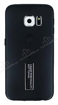 Eiroo Alloy Fit Samsung Galaxy S6 Edge Selfie Yüzüklü Siyah Metal Kılıf