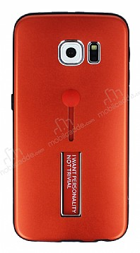 Eiroo Alloy Fit Samsung Galaxy S6 Edge Selfie Yüzüklü Kırmızı Metal Kılıf