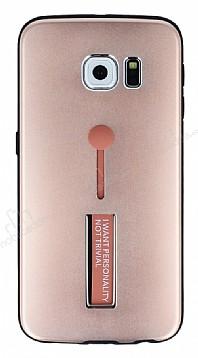 Eiroo Alloy Fit Samsung Galaxy S6 Edge Selfie Yüzüklü Rose Gold Metal Kılıf