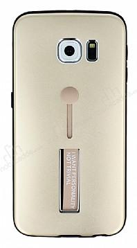 Eiroo Alloy Fit Samsung Galaxy S6 Edge Selfie Yüzüklü Gold Metal Kılıf
