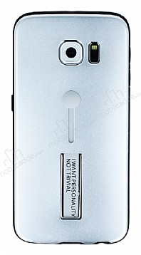 Eiroo Alloy Fit Samsung Galaxy S6 Edge Selfie Yüzüklü Silver Metal Kılıf