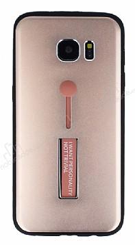 Eiroo Alloy Fit Samsung Galaxy S7 Edge Selfie Yüzüklü Rose Gold Metal Kılıf