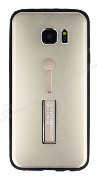 Eiroo Alloy Fit Samsung Galaxy S7 Edge Selfie Yüzüklü Gold Metal Kılıf