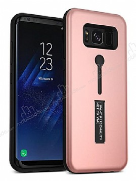 Eiroo Alloy Fit Samsung Galaxy S8 Plus Selfie Yüzüklü Rose Gold Metal Kılıf