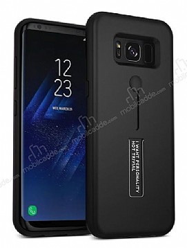 Eiroo Alloy Fit Samsung Galaxy S8 Plus Selfie Yüzüklü Siyah Metal Kılıf