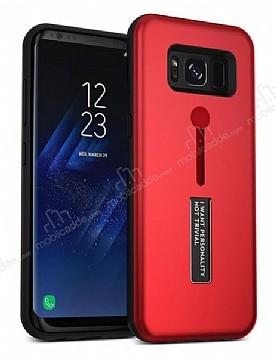 Eiroo Alloy Fit Samsung Galaxy S8 Selfie Yüzüklü Kırmızı Metal Kılıf
