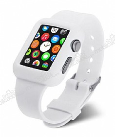 Eiroo Apple Watch / Watch 2 Silikon Kordon Beyaz Kılıf (38 mm)