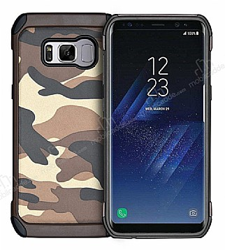 Eiroo Army Samsung Galaxy S8 Plus Ultra Koruma Kahverengi Kılıf