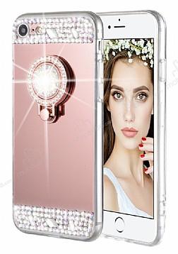 Eiroo Bling Mirror iPhone 6 / 6S Silikon Kenarlı Aynalı Rose Gold Rubber Kılıf