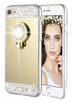 Eiroo Bling Mirror iPhone 6 Plus / 6S Plus Silikon Kenarlı Aynalı Gold Rubber Kılıf
