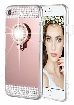 Eiroo Bling Mirror iPhone 6 Plus / 6S Plus Silikon Kenarlı Aynalı Rose Gold Rubber Kılıf