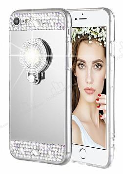 Eiroo Bling Mirror iPhone 6 Plus / 6S Plus Silikon Kenarlı Aynalı Silver Rubber Kılıf