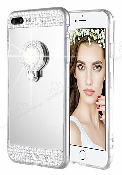 Eiroo Bling Mirror iPhone 7 Plus / 8 Plus Silikon Kenarlı Aynalı Silver Rubber Kılıf