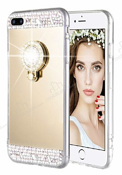 Eiroo Bling Mirror iPhone 7 Plus / 8 Plus Silikon Kenarlı Aynalı Gold Rubber Kılıf