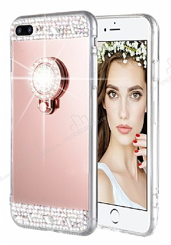 Eiroo Bling Mirror iPhone 7 Plus / 8 Plus Silikon Kenarlı Aynalı Rose Gold Rubber Kılıf