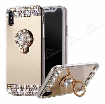 Eiroo Bling Mirror iPhone X / XS Silikon Kenarlı Aynalı Gold Rubber Kılıf