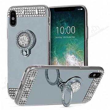 Eiroo Bling Mirror iPhone X Silikon Kenarlı Aynalı Silver Rubber Kılıf