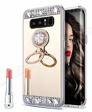 Eiroo Bling Mirror Samsung Galaxy Note 8 Silikon Kenarlı Aynalı Gold Rubber Kılıf