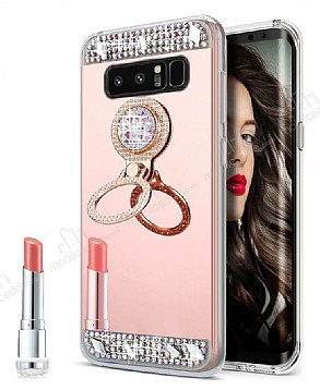 Eiroo Bling Mirror Samsung Galaxy Note 8 Silikon Kenarlı Aynalı Rose Gold Rubber Kılıf