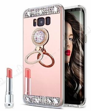 Eiroo Bling Mirror Samsung Galaxy S8 Plus Silikon Kenarlı Aynalı Rose Gold Rubber Kılıf