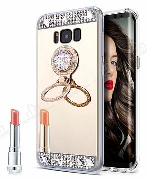 Eiroo Bling Mirror Samsung Galaxy S8 Silikon Kenarlı Aynalı Gold Rubber Kılıf