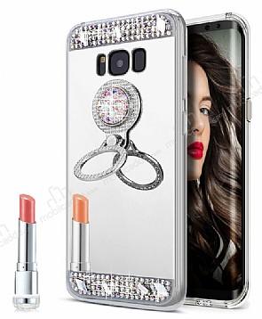 Eiroo Bling Mirror Samsung Galaxy S8 Silikon Kenarlı Aynalı Silver Rubber Kılıf