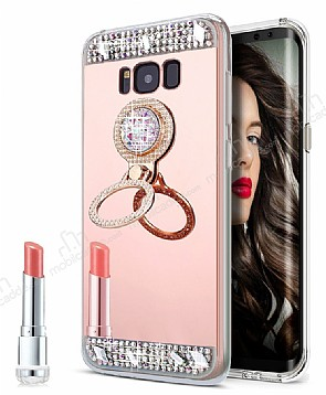Eiroo Bling Mirror Samsung Galaxy S8 Silikon Kenarlı Aynalı Rose Gold Rubber Kılıf