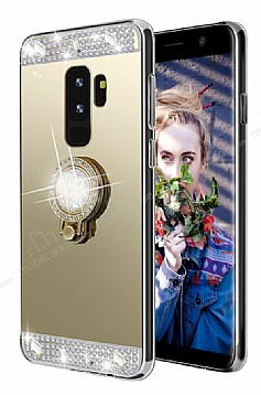 Eiroo Bling Mirror Samsung Galaxy S9 Plus Silikon Kenarlı Aynalı Gold Rubber Kılıf