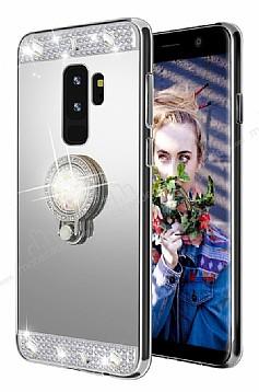 Eiroo Bling Mirror Samsung Galaxy S9 Plus Silikon Kenarlı Aynalı Silver Rubber Kılıf
