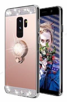Eiroo Bling Mirror Samsung Galaxy S9 Plus Silikon Kenarlı Aynalı Rose Gold Rubber Kılıf