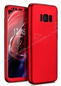 Eiroo Body Fit Samsung Galaxy S8 Plus 360 Derece Koruma Kırmızı Silikon Kılıf