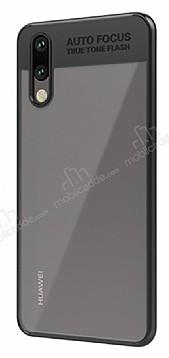 Eiroo Cam Hybrid Huawei P20 Lite Kamera Korumalı Siyah Kenarlı Rubber Kılıf