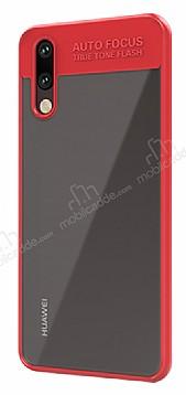 Eiroo Cam Hybrid Huawei P20 Lite Kamera Korumalı Kırmızı Kenarlı Rubber Kılıf