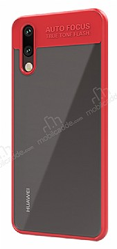 Eiroo Cam Hybrid Huawei P20 Pro Kamera Korumalı Kırmızı Kenarlı Rubber Kılıf