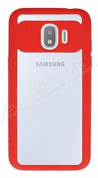 Eiroo Cam Hybrid Samsung Grand Prime Pro J250F Kamera Korumalı Kırmızı Kenarlı Rubber Kılıf