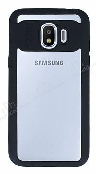 Eiroo Cam Hybrid Samsung Grand Prime Pro J250F Kamera Korumalı Siyah Kenarlı Rubber Kılıf