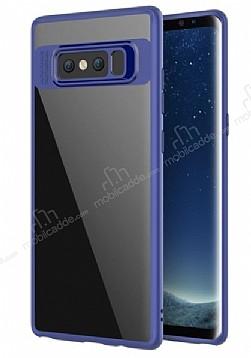 Eiroo Cam Hybrid Samsung Galaxy Note 8 Kamera Korumalı Lacivert Kenarlı Rubber Kılıf