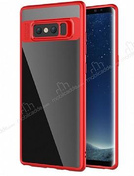 Eiroo Cam Hybrid Samsung Galaxy Note 8 Kamera Korumalı Kırmızı Kenarlı Rubber Kılıf