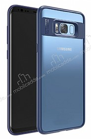 Eiroo Cam Hybrid Samsung Galaxy S8 Kamera Korumalı Lacivert Kenarlı Rubber Kılıf