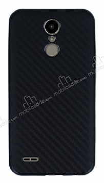 Eiroo Carbon Hybrid LG K10 2017 Siyah Kenarlı Karbon Siyah Silikon Kılıf