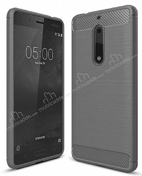 Eiroo Carbon Shield Nokia 5 Ultra Koruma Dark Silver Kılıf