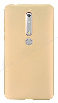 Nokia 6 2018 Mat Gold Silikon Kılıf