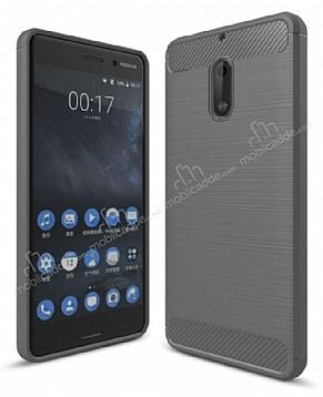 Eiroo Carbon Shield Nokia 6 Ultra Koruma Dark Silver Kılıf