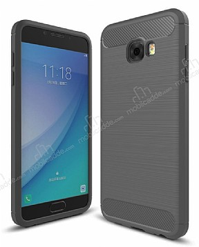 Eiroo Carbon Shield Samsung Galaxy C5 Pro Ultra Koruma Dark Silver Kılıf