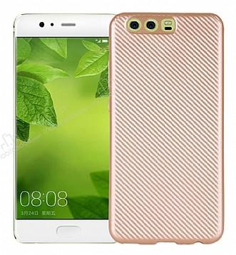 Eiroo Carbon Thin Huawei P10 Plus Ultra İnce Gold Silikon Kılıf