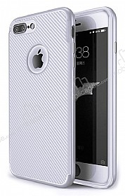 Eiroo Carbon Thin iPhone 7 Plus Ultra İnce Silver Silikon Kılıf
