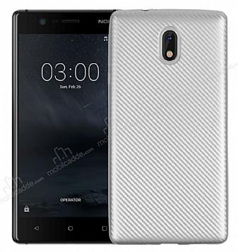 Eiroo Carbon Thin Nokia 3 Ultra İnce Silver Silikon Kılıf