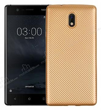 Eiroo Carbon Thin Nokia 3 Ultra İnce Gold Silikon Kılıf