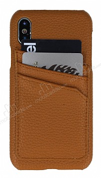 Eiroo Card Pass Apple iPhone X Deri Kartlıklı Kahverengi Kılıf